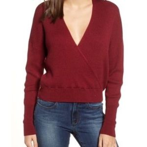 LEITH WOMEN'S Rib Wrap Sweater Small Red Grape